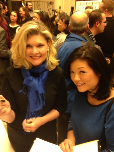 Yes, that is Debra Monk signing my copy of NOTHING LIKE A DAME by Eddie Shapiro