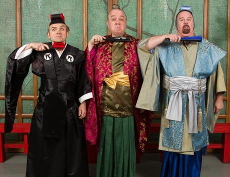 L-R: Dave Ross as Koko, William Darkow as Pish Tush, and Craig Cantley as Poo Bah
