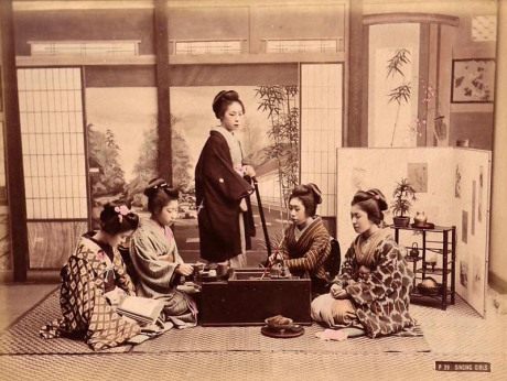 Hard at work at Geisha School, studying the art of Singing, circa 1880