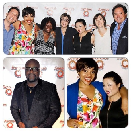 Top L-R: John Tartaglia, Carmen Ruby Floyd, Beverly Jenkins, Producer Robyn Goodman, Erin Quill, Phoebe Kreutz, Producer Kevin McCollum Lower Left Photo: Star of MEMPHIS: J. Bernard Calloway Lower Rt Photo: Carmen Ruby Floyd & Erin Quill