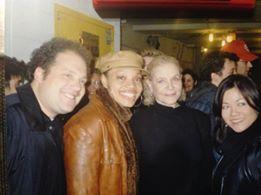 Jordan Gelber, Carmen Ruby Floyd, Lauren Bacall, Erin Quill backstage at Avenue Q